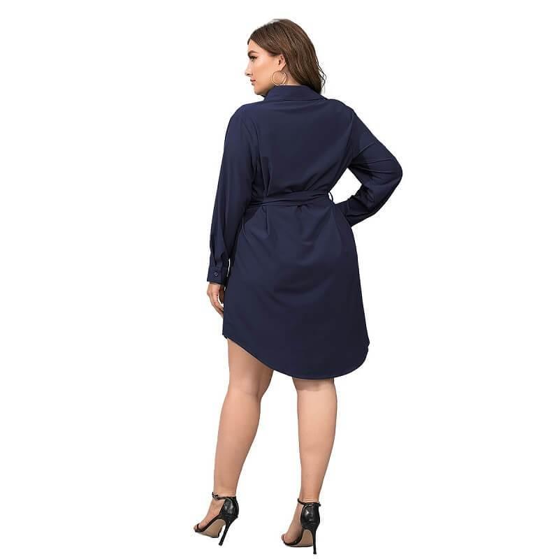 Plus Size Black Blouse - dark blue back