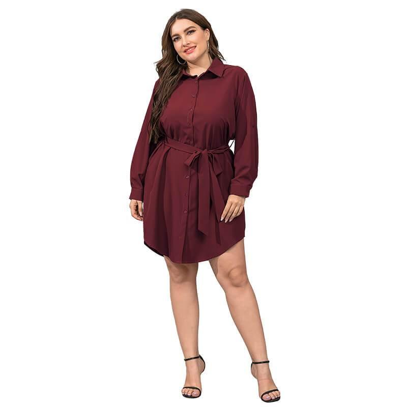 Plus Size Black Blouse - red color