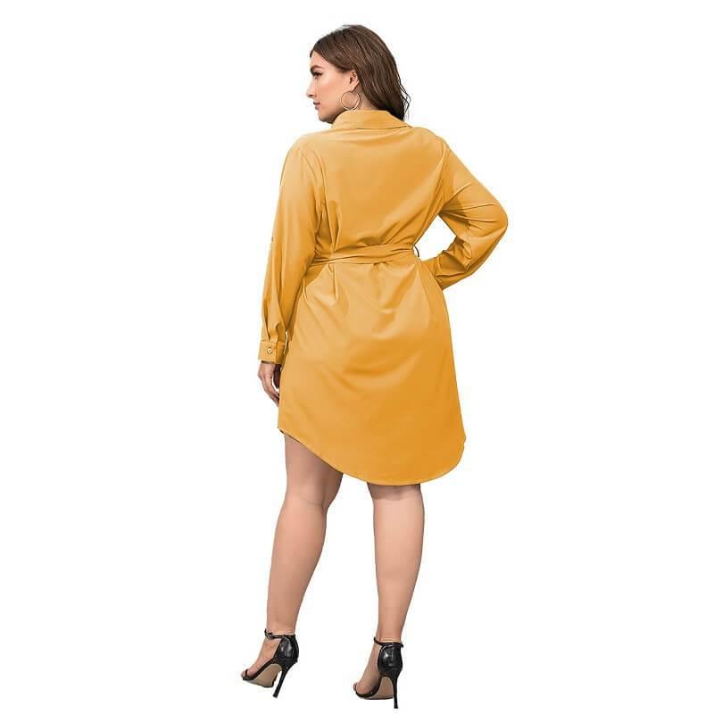 Plus Size Black Blouse - yellow back