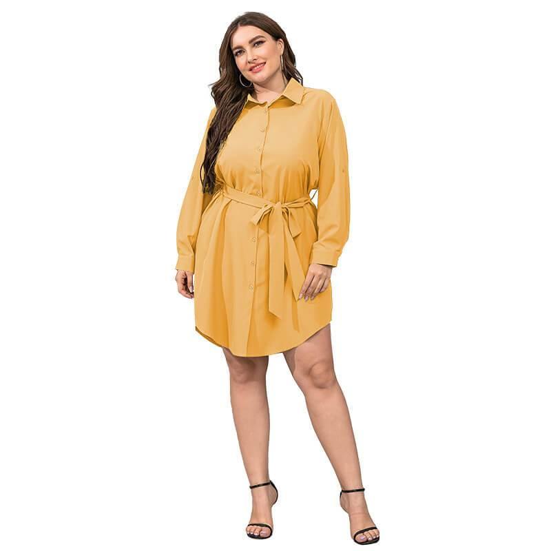 Plus Size Black Blouse - yellow color