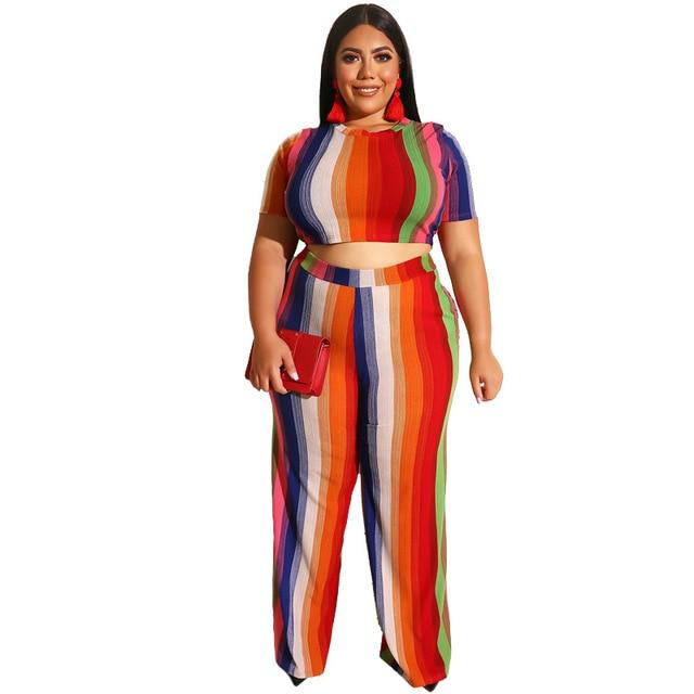 Plus Size Sets Womens Printed Stripes - red color