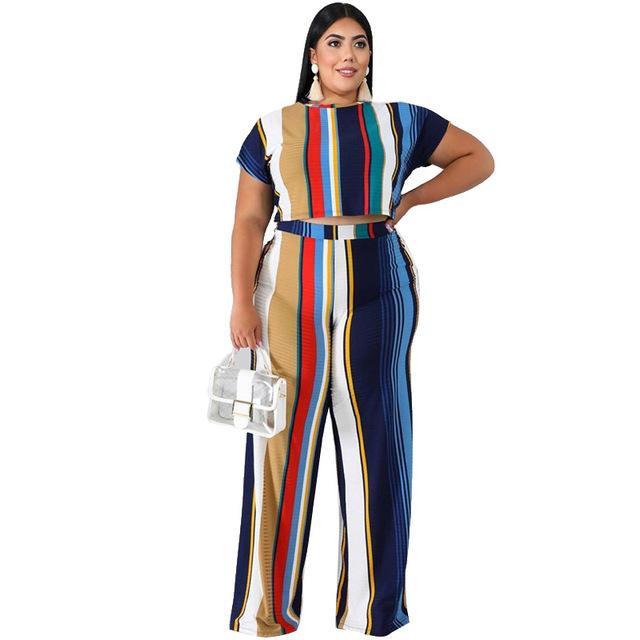 Plus Size Sets Womens Printed Stripes - blue color