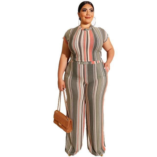 Plus Size Sets Womens Printed Stripes - beige color