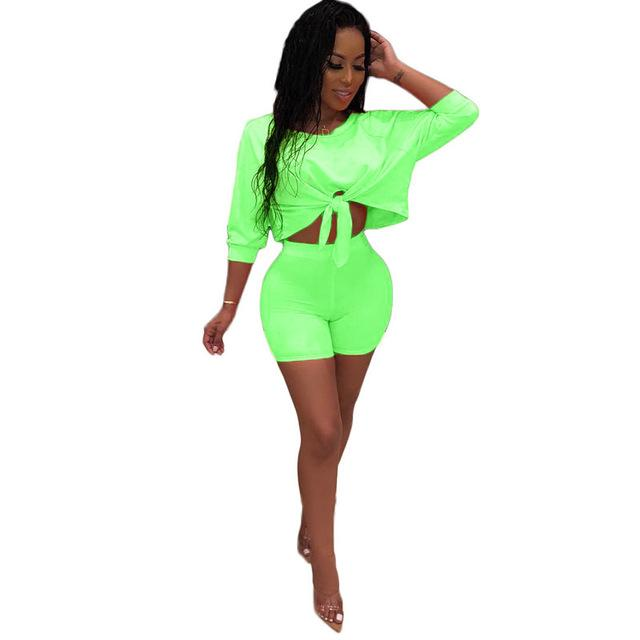 Top and Shorts Set Womens - green color