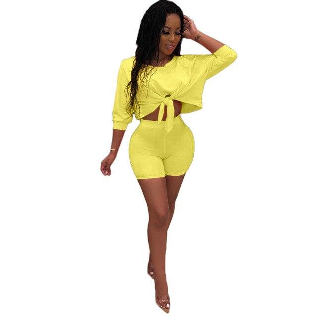 Top and Shorts Set Womens - yellow color