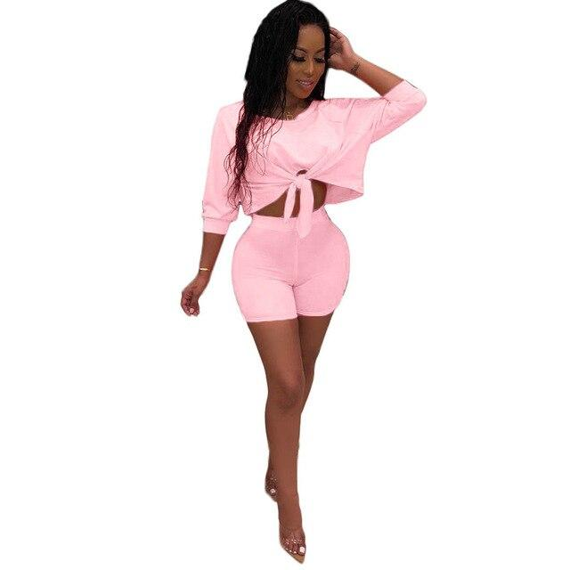 Top and Shorts Set Womens - pink color