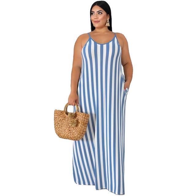 Plus Size Beach Dresses - blue color