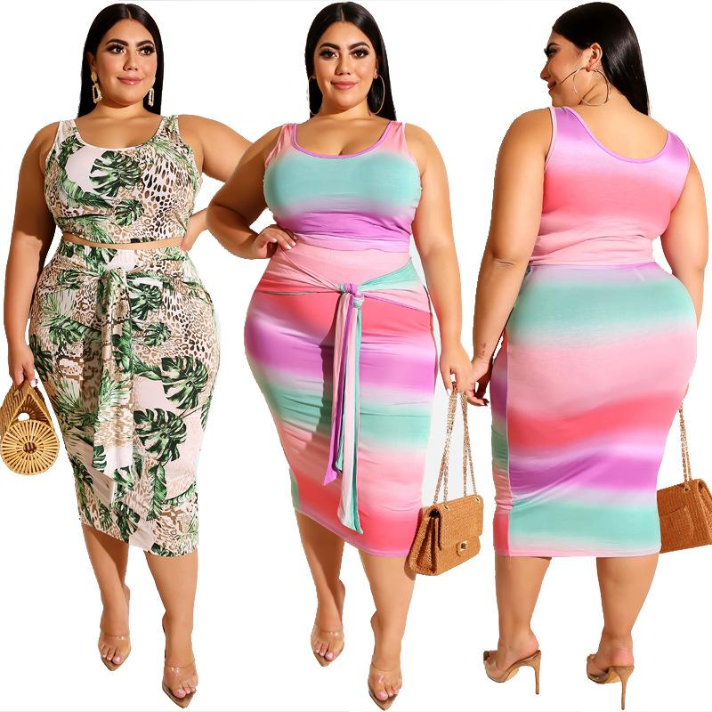 Plus Size Printed Square Two Piece Set - main picture