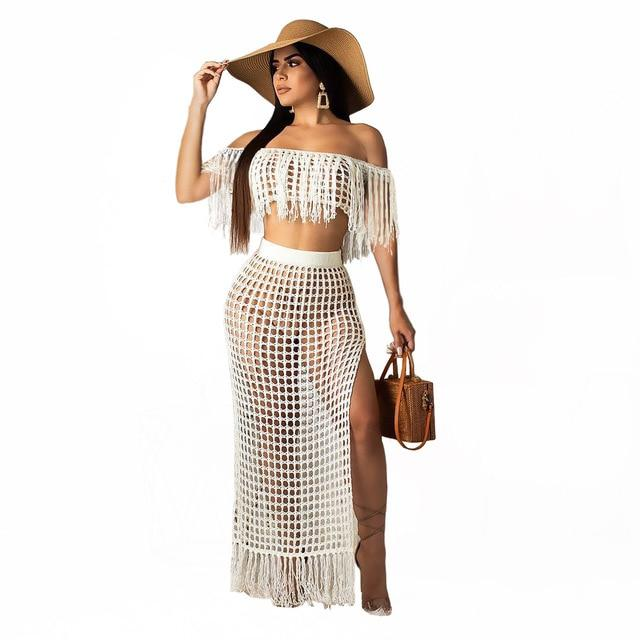 Two Piece Skirt Set - white  color