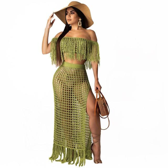 Two Piece Skirt Set - green color