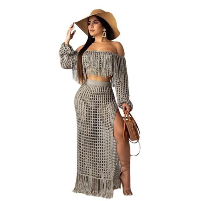 Two Piece Skirt Set - gray color