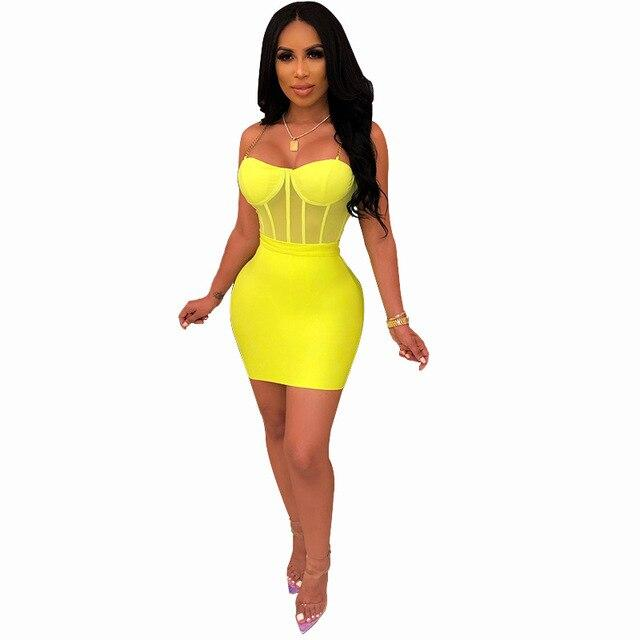 Sexy Green Dresses - yellow color