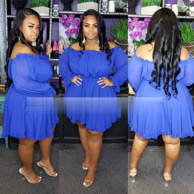 Plus Size Occasion Dresses - blue color