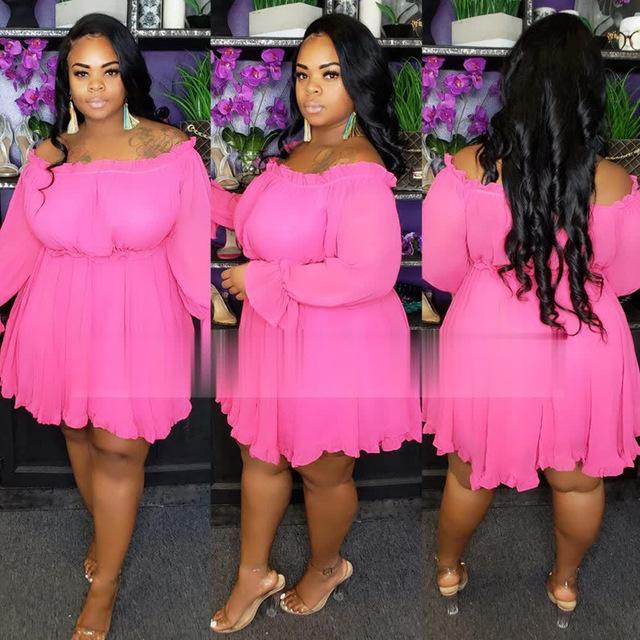Plus Size Occasion Dresses - pink color