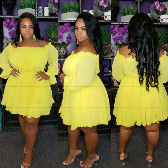 Plus Size Occasion Dresses - yellow color