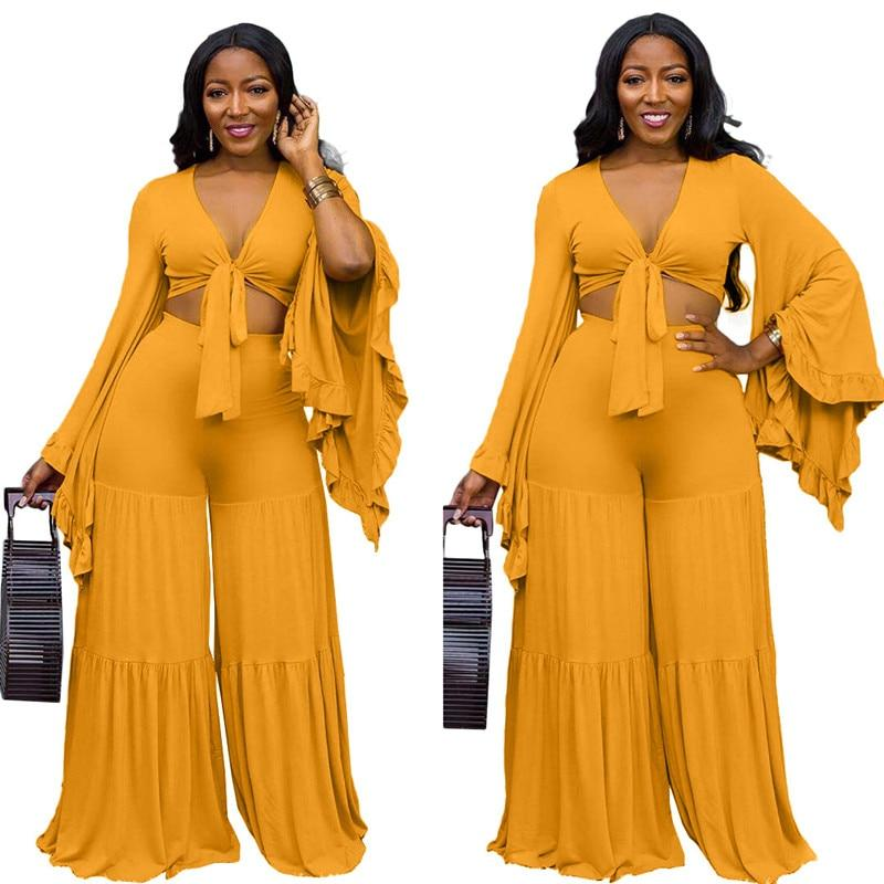 Plus Size Ruffle 2 Piece Lace-up Top - main picture