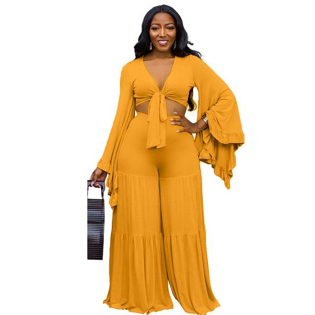 Plus Size Ruffle 2 Piece Lace-up Top - yellow positive