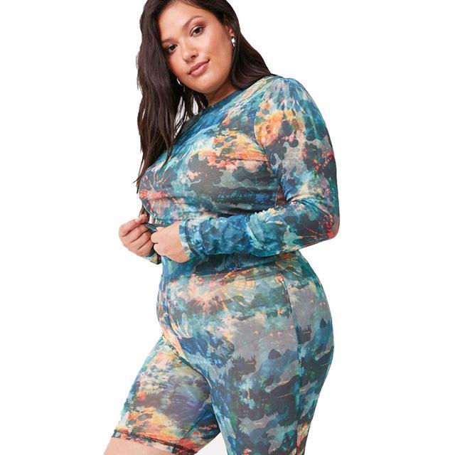 Plus Size Women 2 Piece Set Sweatsuit - camouflage left