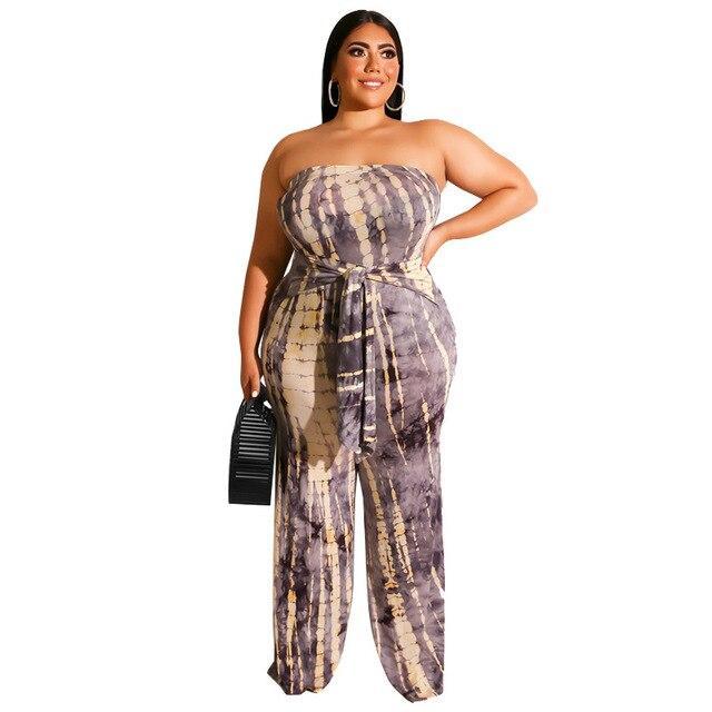 Strapless Plus Size Jumpsuit - gray color