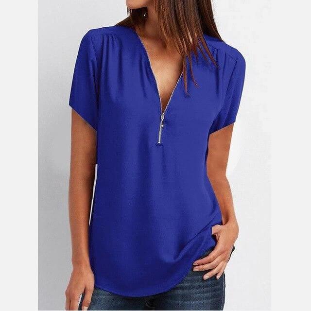 Plus Size Grey T Shirt - blue color