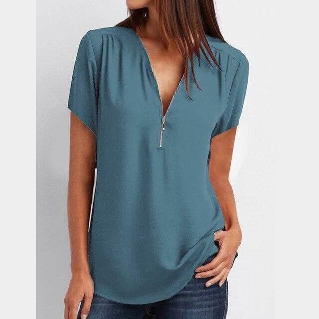 Plus Size Grey T Shirt - sky blue color