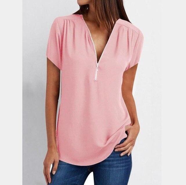 Plus Size Grey T Shirt - pink color