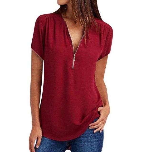Plus Size Grey T Shirt - burgundy color
