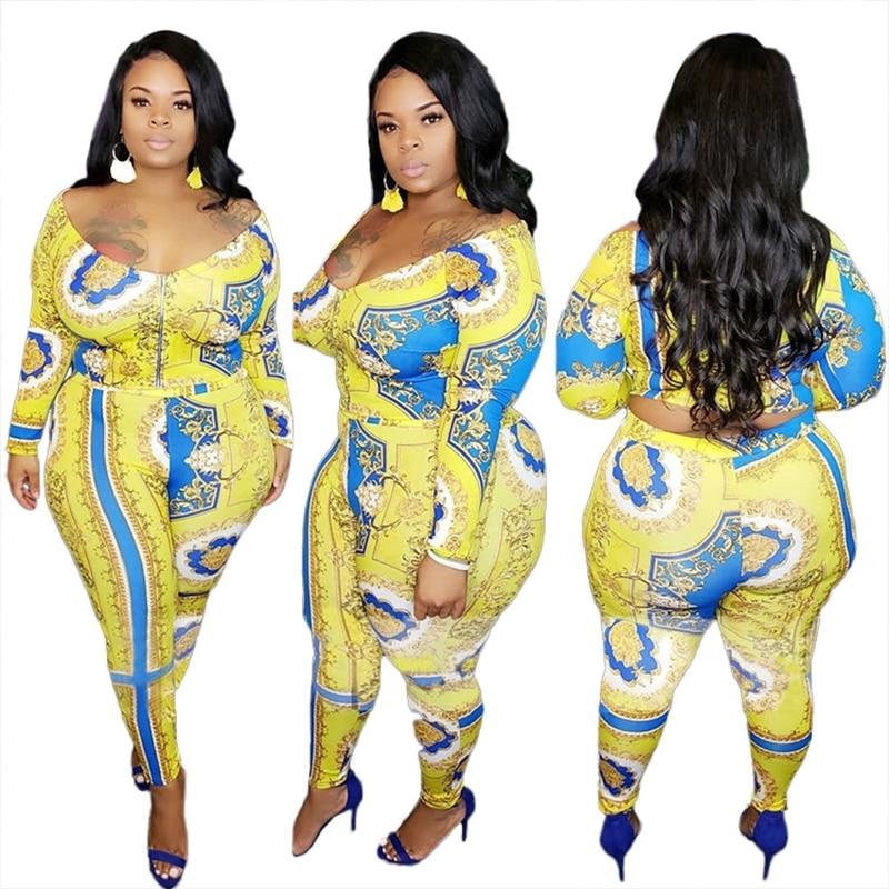 Plus Size Outfits V Neck Long Sleeve - yellow color