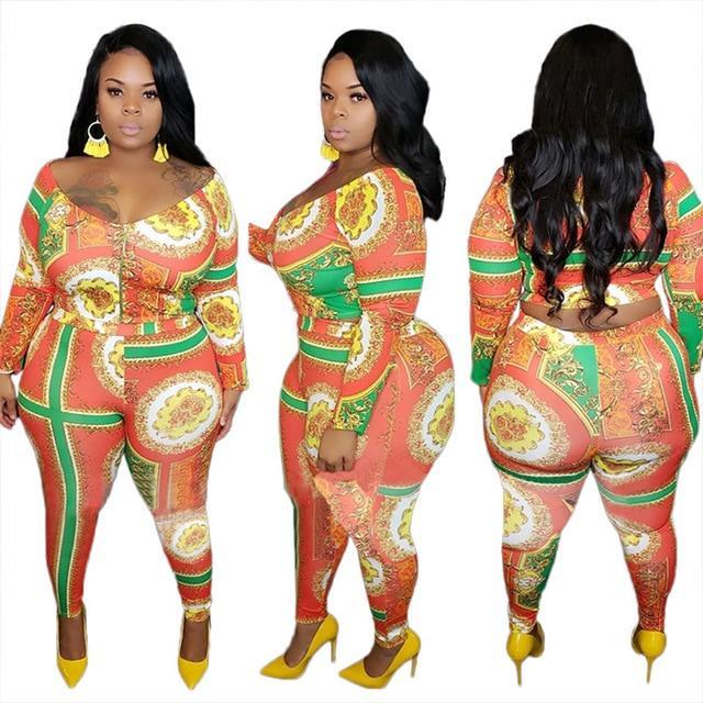 Plus Size Outfits V Neck Long Sleeve - orange color