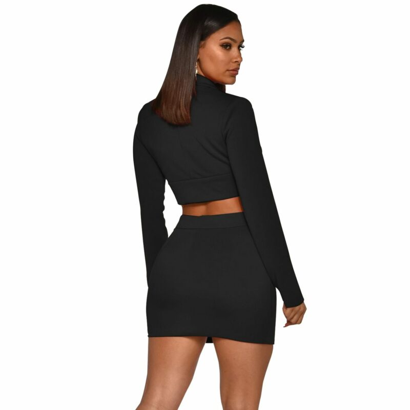 Sexy Two Piece Sets - black color - back view