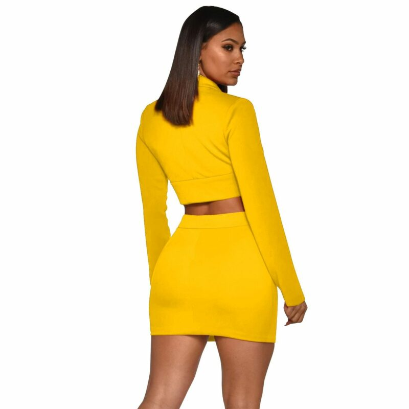 Sexy Two Piece Sets - yellow color - back view