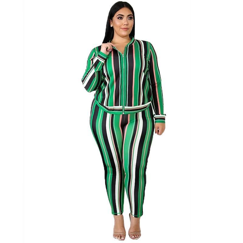 Plus Size Loose 2 Two Piece Set - stripe color