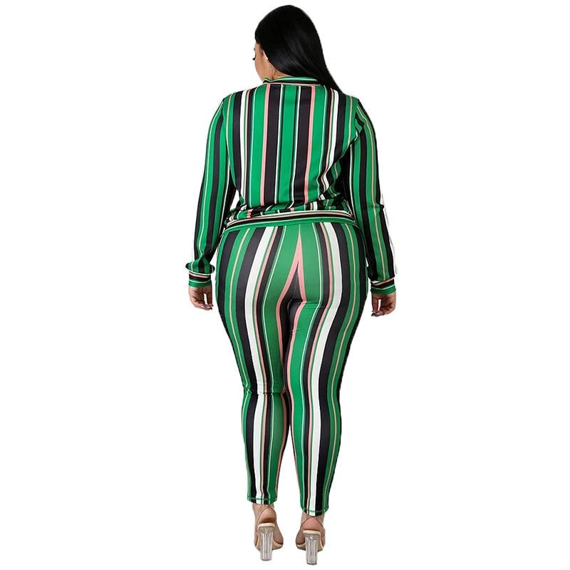 Plus Size Loose 2 Two Piece Set - stripe back