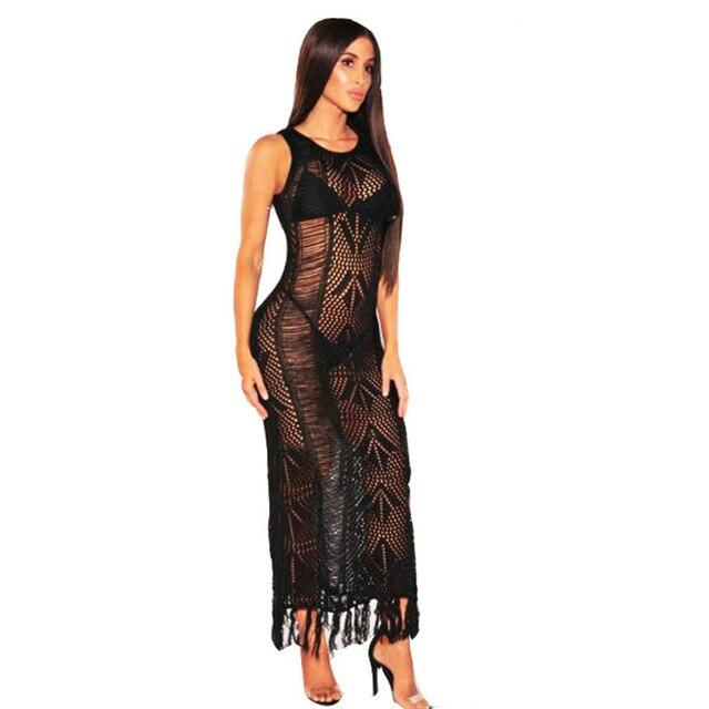 Smocked Maxi Dress  - black color - front view