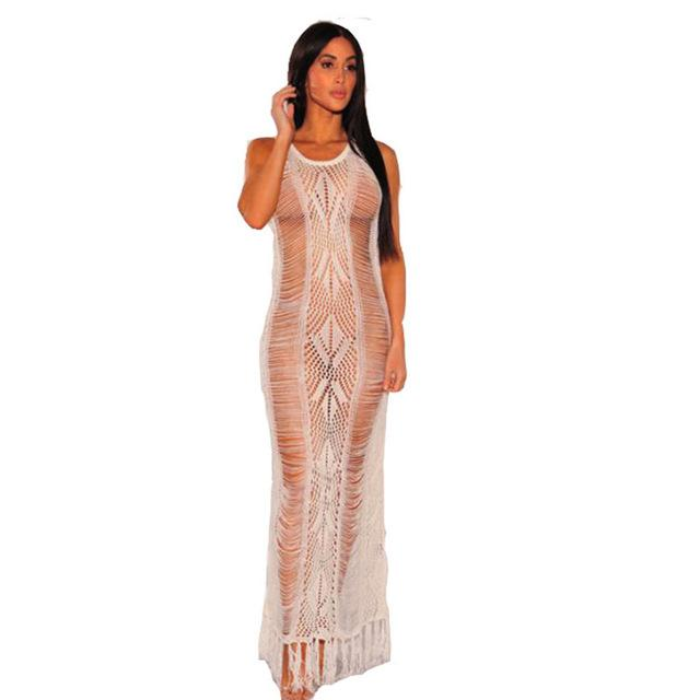 Smocked Maxi Dress - White color - front view