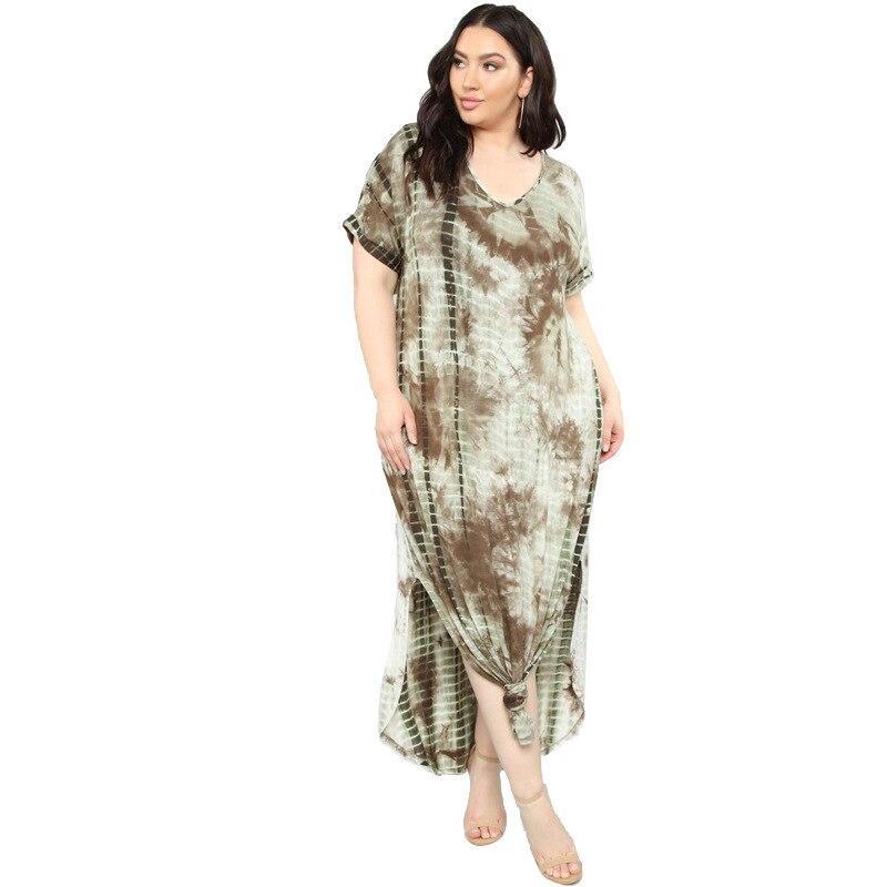 Oversized Tie-dye Loose Dress - khaki positive