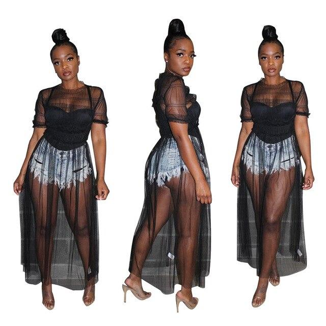 Oversized Mesh See-through Dress - black color