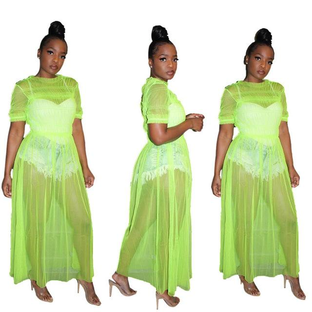 Oversized Mesh See-through Dress - green color