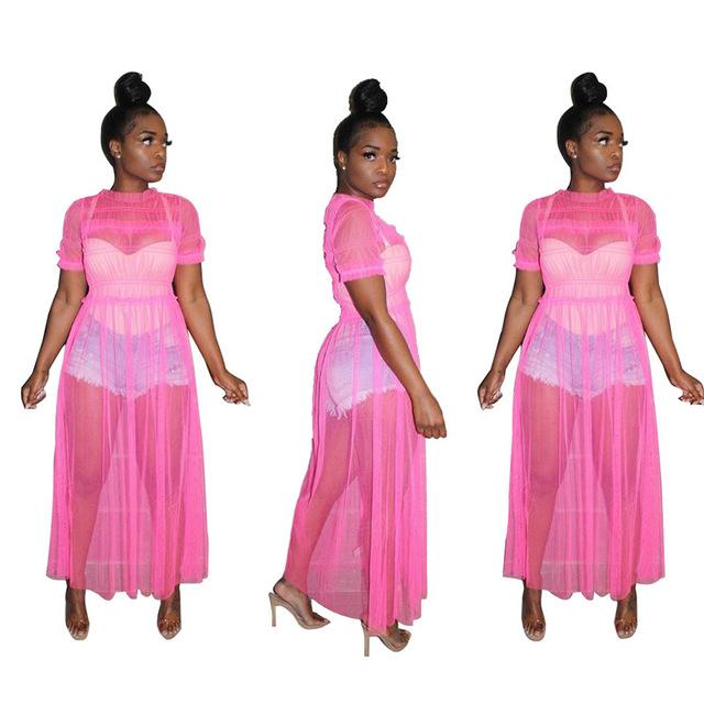 Oversized Mesh See-through Dress - pink color