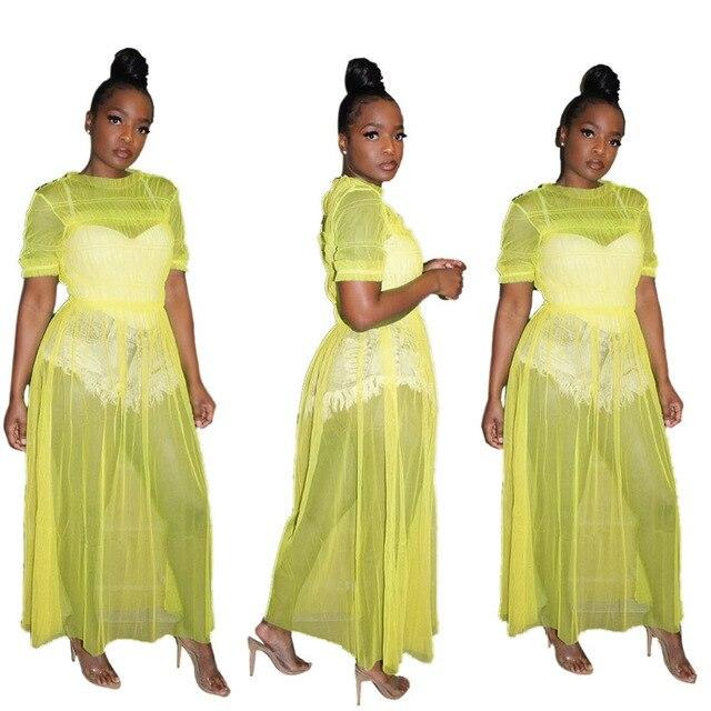 Oversized Mesh See-through Dress - yellow color