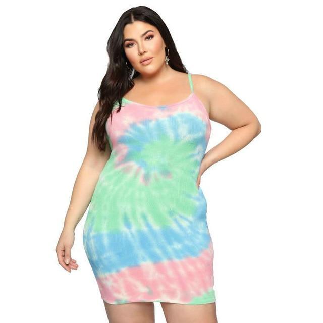 Summer Plus Size Suspender Dress - multi positive