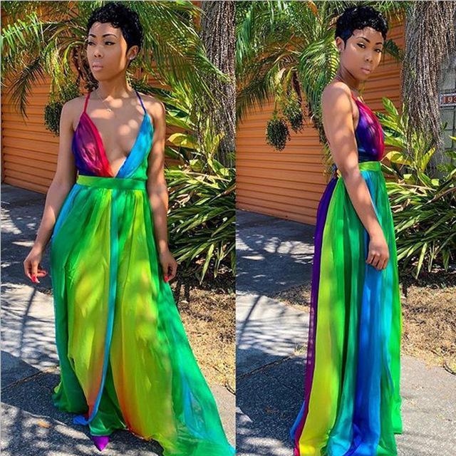 Halter Maxi Dresses - Green Color