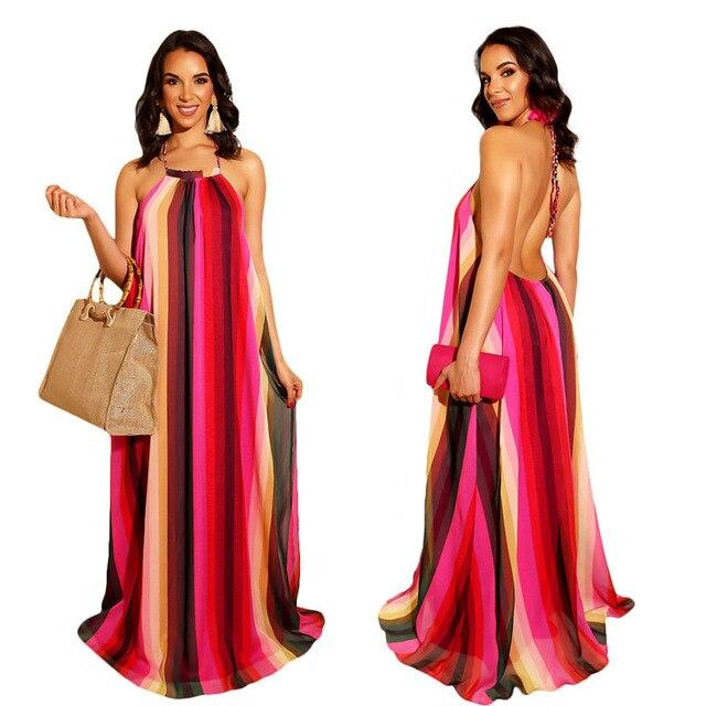 Striped Maxi Dress - Red color