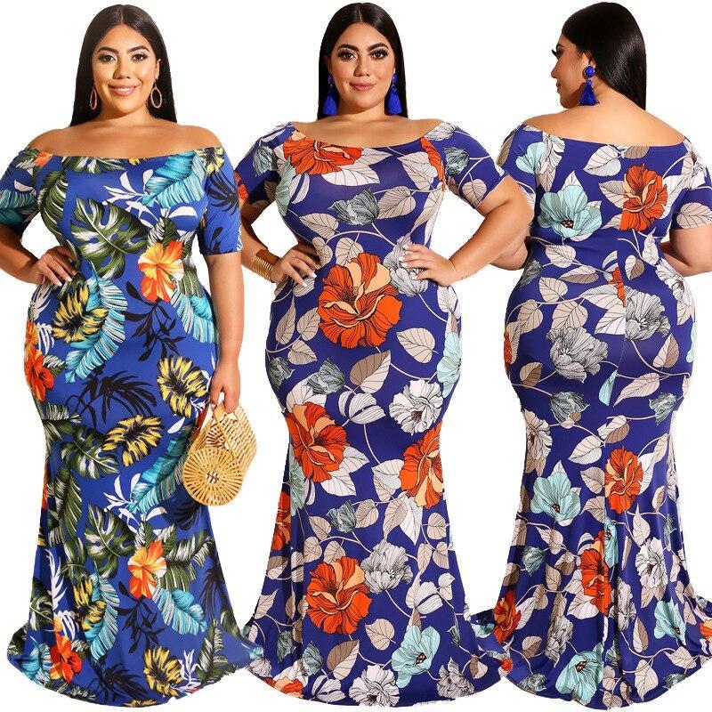 Short Sleeve Plus Size Flower Dress - main picture