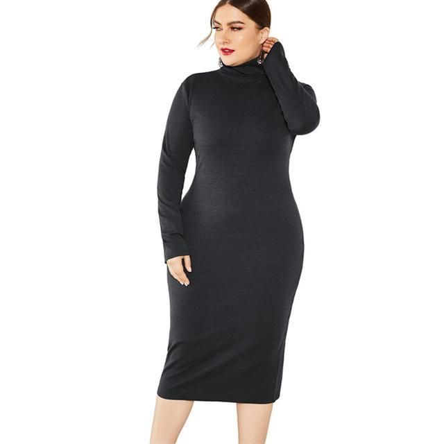 Grey Plus Size Dress - black color