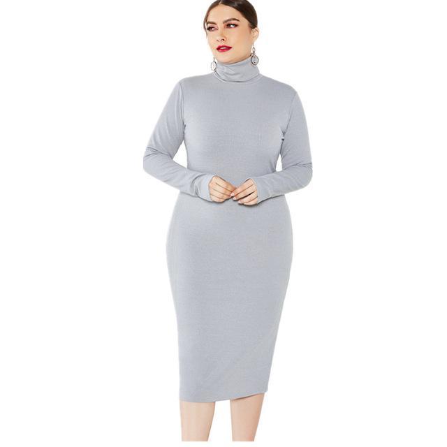 Grey Plus Size Dress - gray color