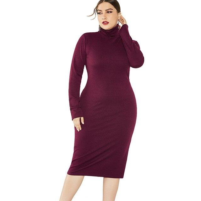 Grey Plus Size Dress - burgundy color