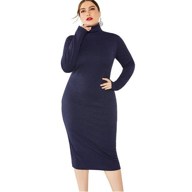Grey Plus Size Dress - navy blue color
