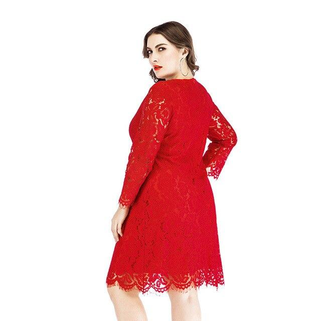 Plus Size Lace Wedding Dresses - red side