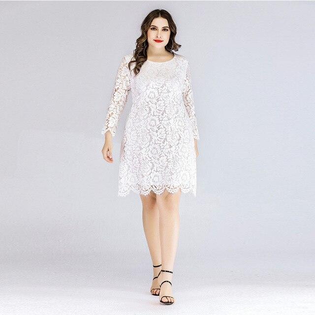 Plus Size Lace Wedding Dresses - white positive